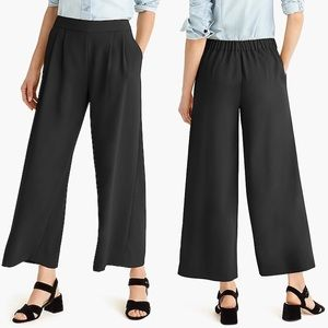 J. Crew 365 Wide Leg Crop Pants Black Crepe Sz 10